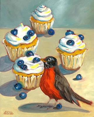 Robin With Blueberry Cupcakes Poster