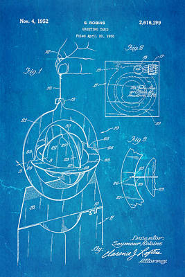 Robins 3d Greeting Card Patent Art 1952 Blueprint Poster by Ian Monk
