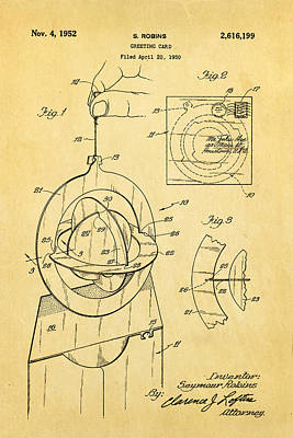 Robins 3d Greeting Card Patent Art 1952 Poster by Ian Monk