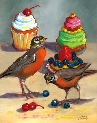 Poster featuring the painting Robins And Desserts by Susan Thomas