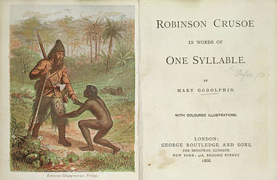 Robinson Crusoe Rescues Friday Poster by British Library