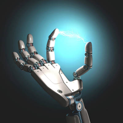 Robot Hand With Electric Connection Poster