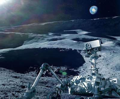 Robot Research On The Moon Poster by Detlev Van Ravenswaay