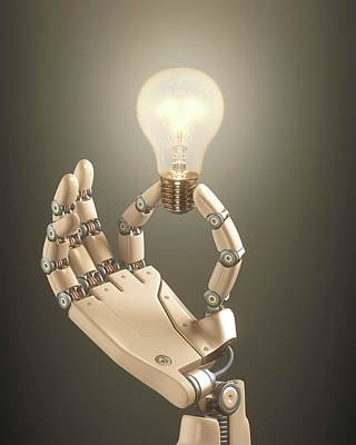 Robotic Hand Holding A Light Bulb Poster