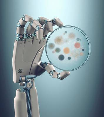 Robotic Hand Holding A Petri Dish Poster