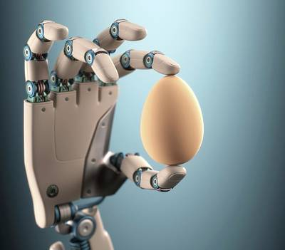 Robotic Hand Holding Egg Poster