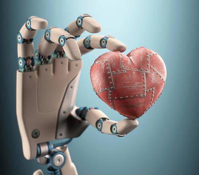 Robotic Hand Holding Heart Poster by Ktsdesign