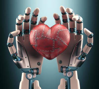 Robotic Hands Holding Heart Poster by Ktsdesign