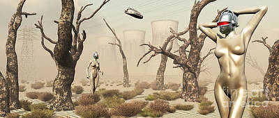 Robots Walking About A Landscape Poster