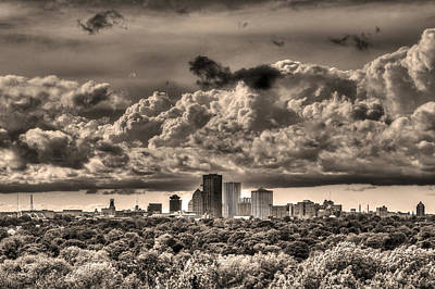 Rochester Ny Skyline In Sepia Poster by Tim Buisman