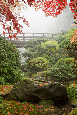 Poster featuring the photograph Rock And Bridge At Japanese Garden by JPLDesigns