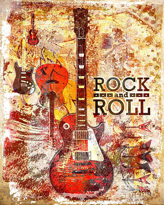Rock And Roll Guitar Art Poster