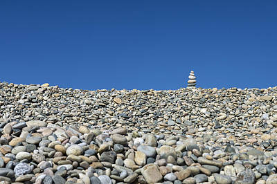Rock Cairn On Stonewall Beach Poster