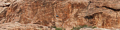 Rock Climber Climbing A Rock, Red Rock Poster by Panoramic Images