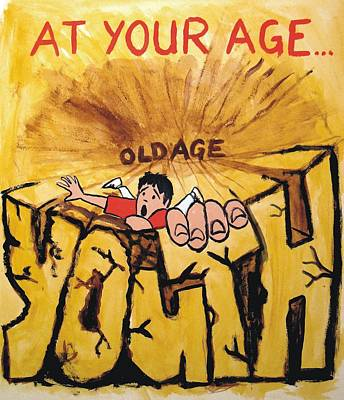 Rock Climbing Cartoon Poster by Mike Jory