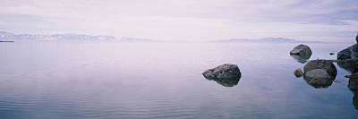 Rock Formations In A Lake, Great Salt Poster by Panoramic Images
