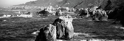 Rock Formations On The Beach, Big Sur Poster