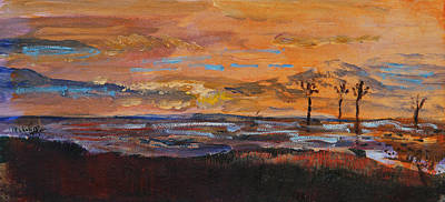 Poster featuring the painting Rock Harbor Sunset by Michael Helfen