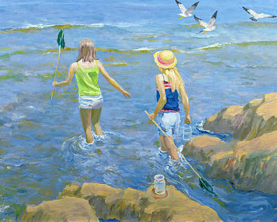 Rock Pool Oil On Board Poster by William Ireland