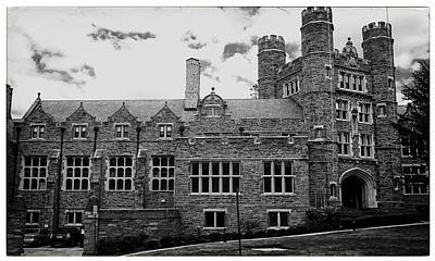 Rockefeller Hall - Bryn Mawr In Black And White Poster by Georgia Fowler