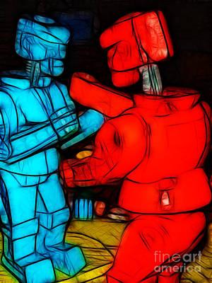 Rockem Sockem Robots - Color Sketch Style - Version 1 Poster by Wingsdomain Art and Photography