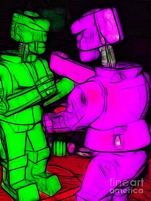 Rockem Sockem Robots - Color Sketch Style - Version 2 Poster by Wingsdomain Art and Photography