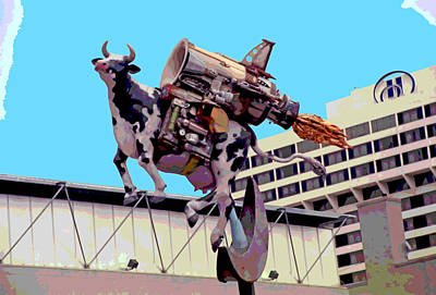 Rocket Cow Sculpture By Michael Bingham Poster