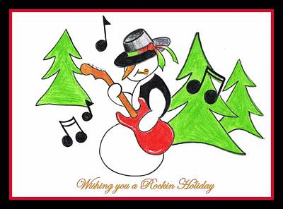 Poster featuring the drawing Rockin' Holiday Snowman by Chris Fraser