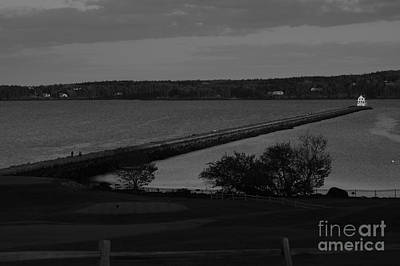 Rockland Breakwater Lighthouse  - Black And White Poster by Trish Hebendahl
