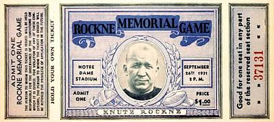 Rockne Memorial Game Poster by Benjamin Yeager