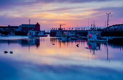 Poster featuring the photograph Rockport Harbor Sunrise Over Motif #1 by Jeff Folger
