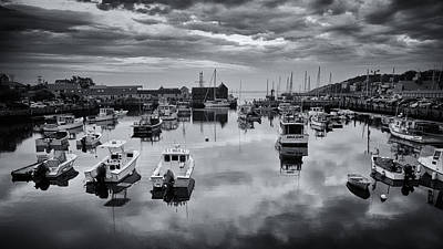 Rockport Harbor View - Bw Poster by Stephen Stookey