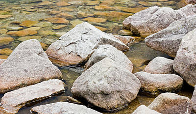 Rocks In A Lake Poster by Pati Photography