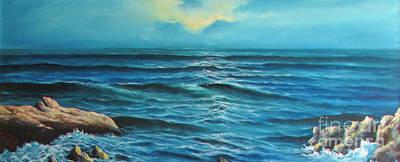 Rocks In The Ocean Poster by Bozena Simeth