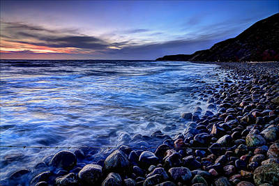 Rocky Beach Sunset Poster by EXparte SE