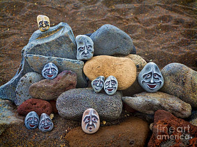 Rocky Faces In The Sand Poster by David Smith