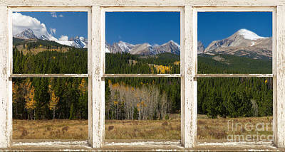 Rocky Mountain Continental Divide Rustic Window View Poster