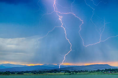 Rocky Mountain Foothills Lightning Strikes 2 Hdr Poster