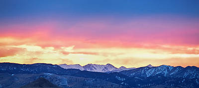 Rocky Mountain Sunset Clouds Burning Layers  Panorama Poster