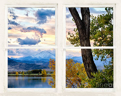 Rocky Mountains Lake Autumn Rustic White Washed Window View Poster