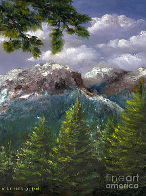 Poster featuring the painting Rocky Mountains National Park Colorado by Lenora  De Lude