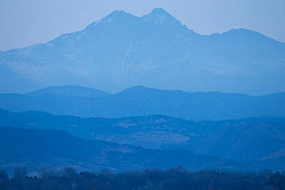 Rocky Mountains Twin Peaks Blue Haze Layers Poster