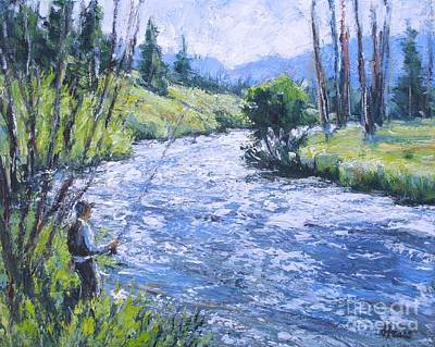 Rocky Mtn Fishing Poster by Vickie Fears