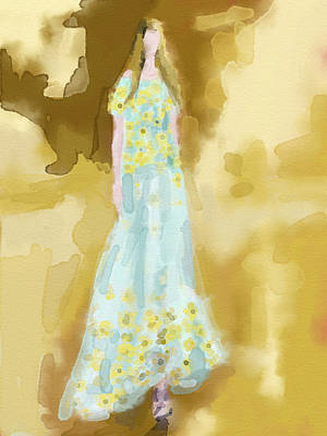 Rodarte Floral Dress Fashion Illustration Poster by Beverly Brown