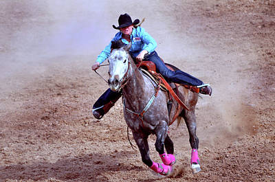 Rodeo Cowgirl Poster by Barbara Manis