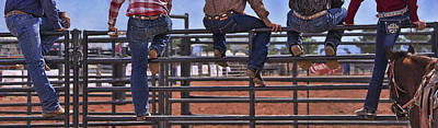 Rodeo Fence Sitters Poster by Priscilla Burgers