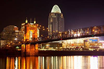 Roebling Suspension Bridge At Cincinnati Ohio Poster