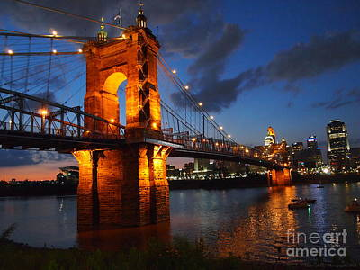 Roebling Suspension Bridge At Sunset Poster