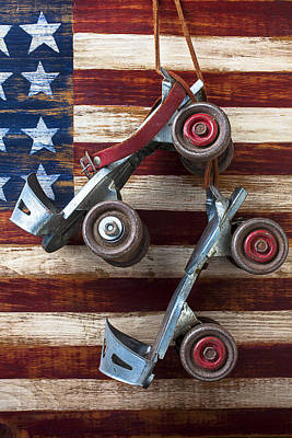 Rollar Skates With Wooden Flag Poster