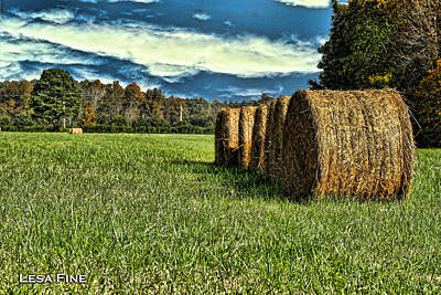 Rolled Hay Bales Hdr Art Poster by Lesa Fine